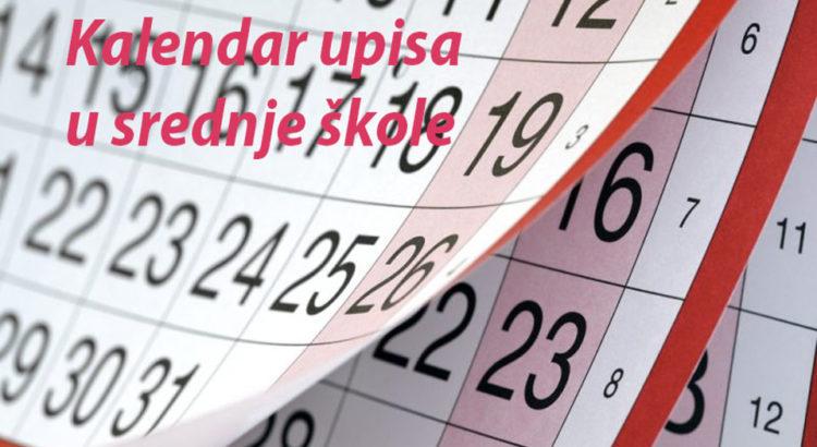 Kalendar upisa u srednje škole 2018/2019